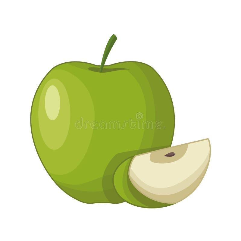Desenhos animados dos frutos frescos do corte de Apple meios ilustração royalty free
