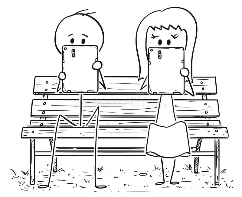 Desenhos animados dos pares que sentam-se no banco de parque e que trabalham ou que fazem algo em tabuletas ilustração do vetor