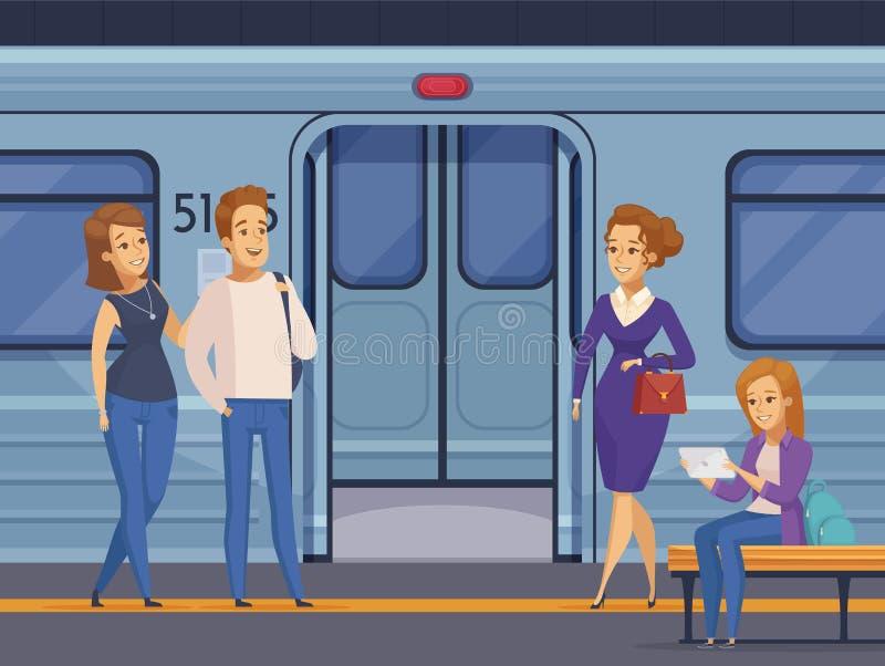 Desenhos animados dos passageiros da estação subterrânea do metro ilustração royalty free