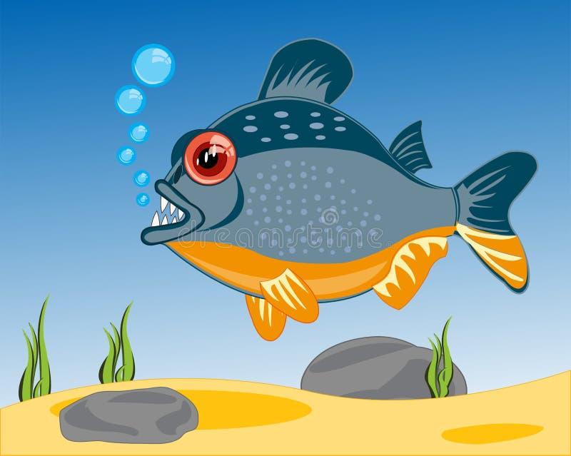 Desenhos animados dos peixes aos piranhases que sailling no rio ilustração stock