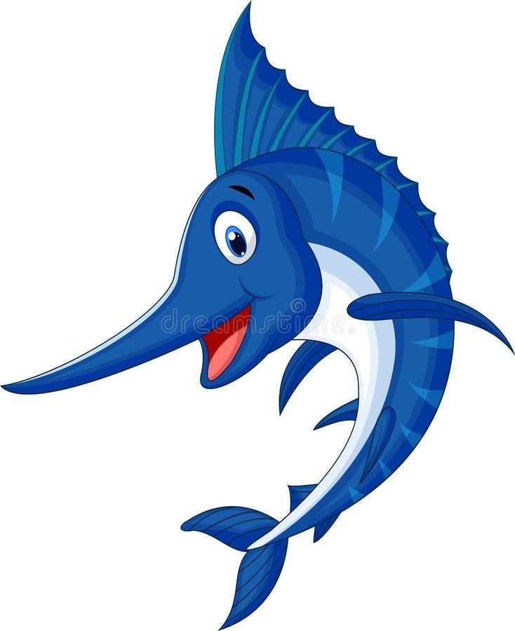 Desenhos animados dos peixes do espadim ilustração stock