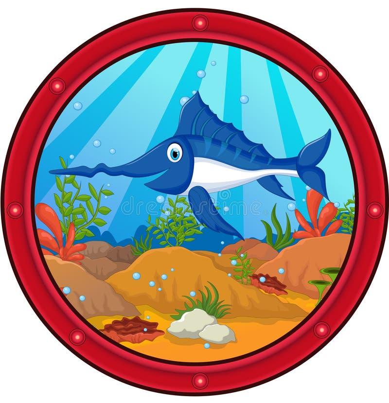 Desenhos animados dos peixes do espadim ilustração do vetor