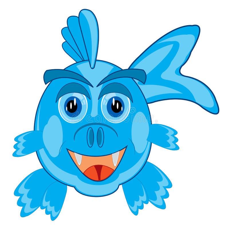 Desenhos animados dos peixes no branco ilustração stock