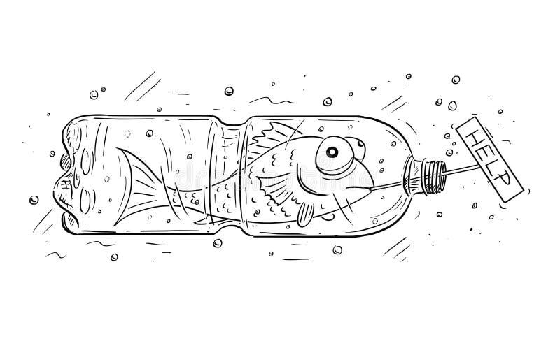 Desenhos animados dos peixes prendidos no sinal plástico da ajuda da terra arrendada da garrafa ilustração do vetor
