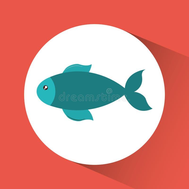Desenhos animados dos peixes sobre o ícone do círculo Gráfico de vetor ilustração stock