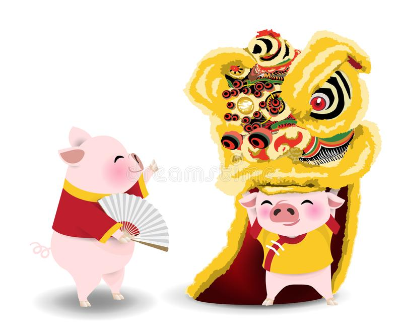 Desenhos animados dos porcos com dança de leão pelo ano novo chinês ilustração royalty free