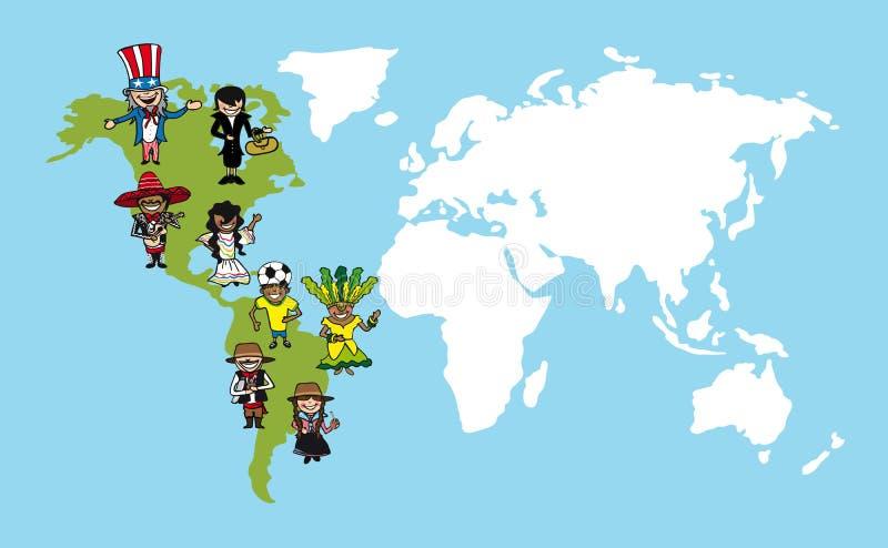 Desenhos animados dos povos de América, illus da diversidade do mapa do mundo ilustração do vetor