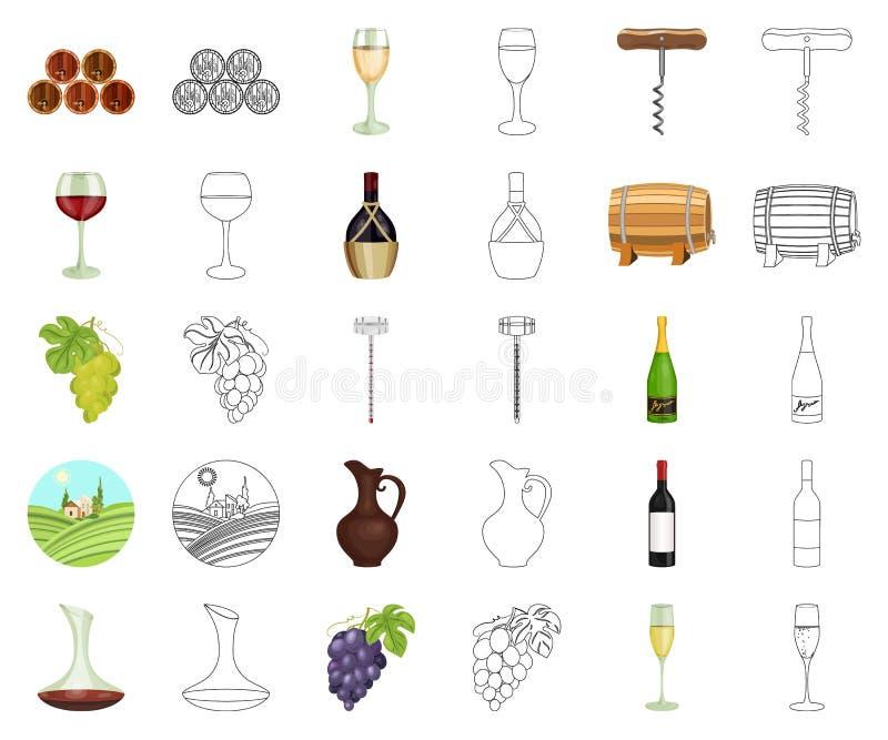Desenhos animados dos produtos de vinho, ícones do esboço em coleção ajustada para o projeto r ilustração stock