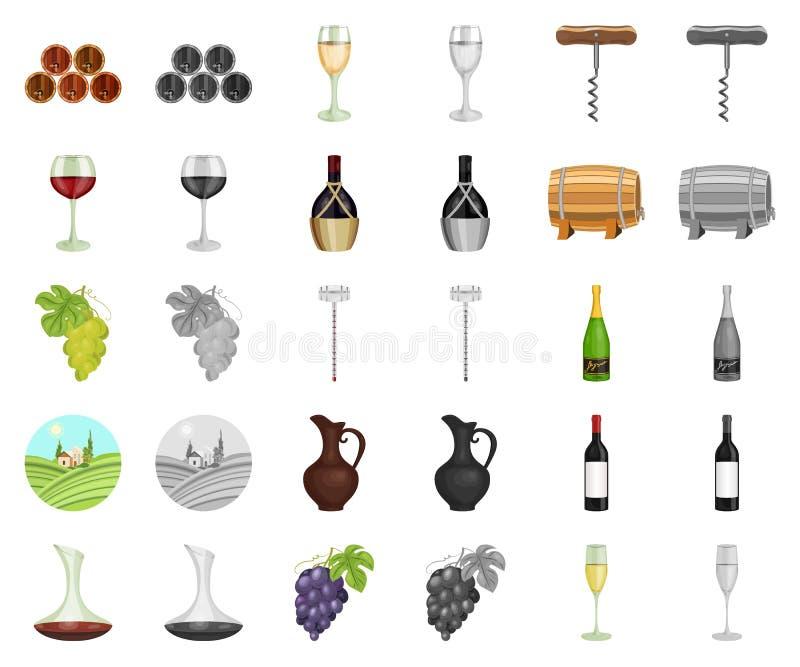Desenhos animados dos produtos de vinho, ícones do monochrom em coleção ajustada para o projeto r ilustração do vetor