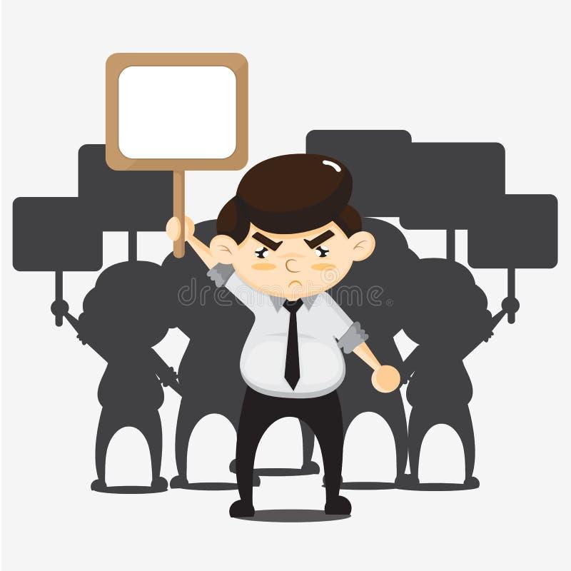 DESENHOS ANIMADOS dos protestos dos empregados ilustração do vetor