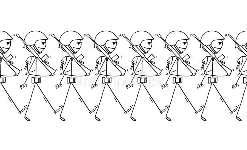 Desenhos animados dos soldados modernos que marcham na parada ou dentro à guerra ilustração do vetor