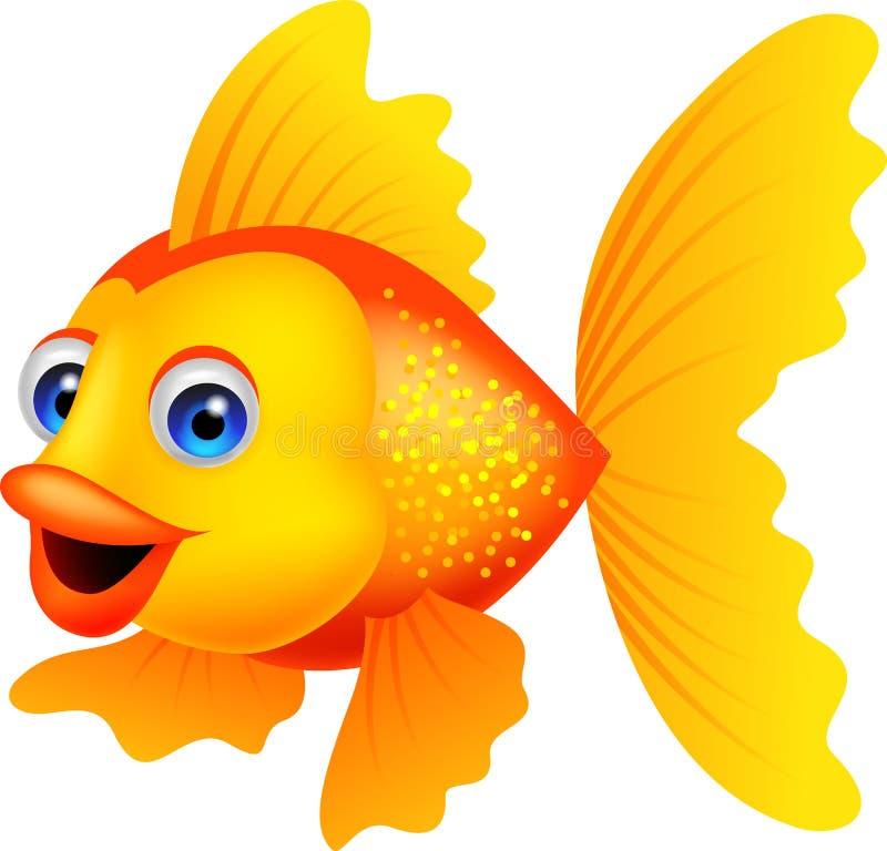 Desenhos animados dourados dos peixes ilustração do vetor