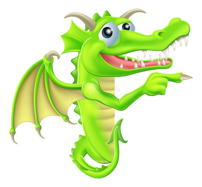 Desenhos animados Dragon Peeking Round Sign ilustração stock