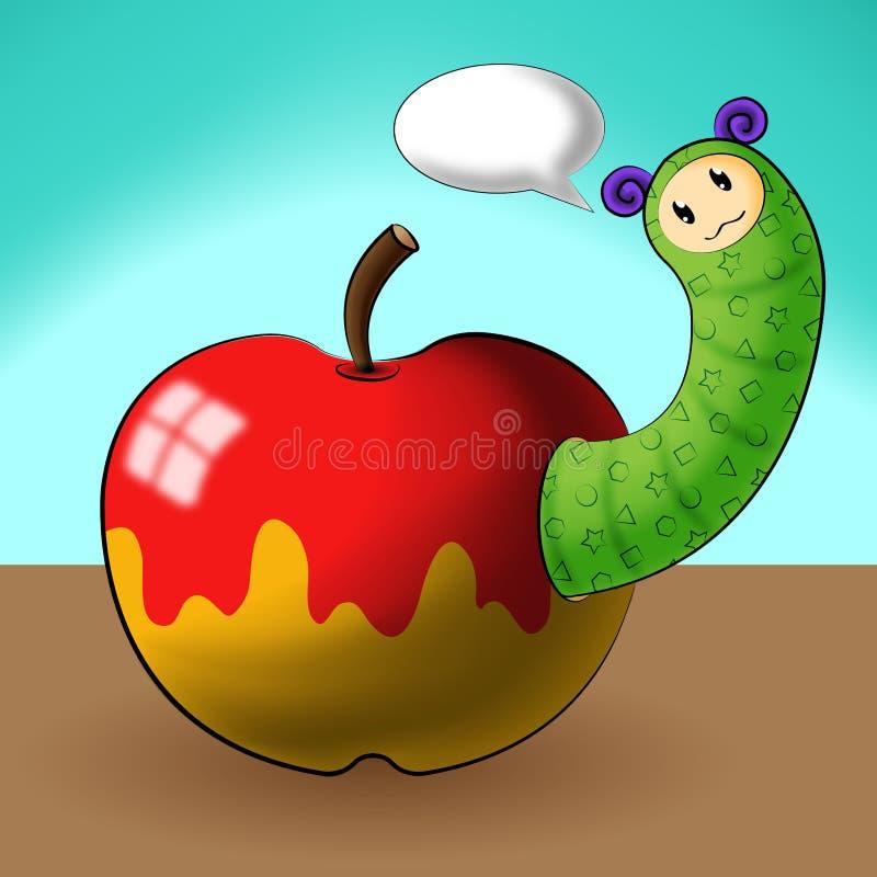 Desenhos animados e maçã de Caterpillar ilustração stock