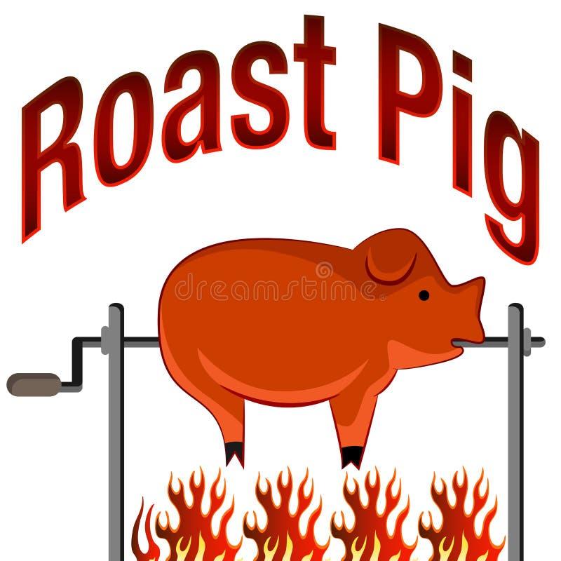 Desenhos animados e texto Roasted do porco ilustração stock