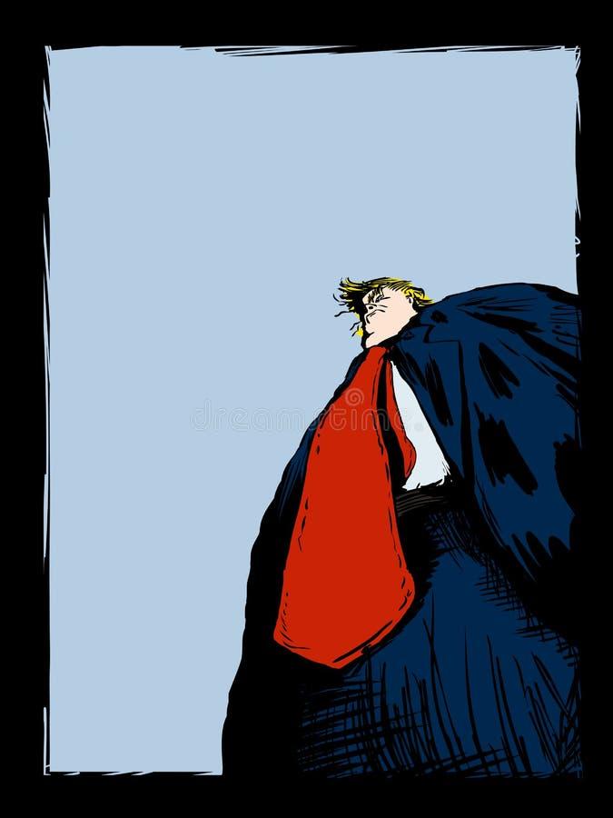 Desenhos animados editoriais de Donald Trump Over Blue ilustração stock