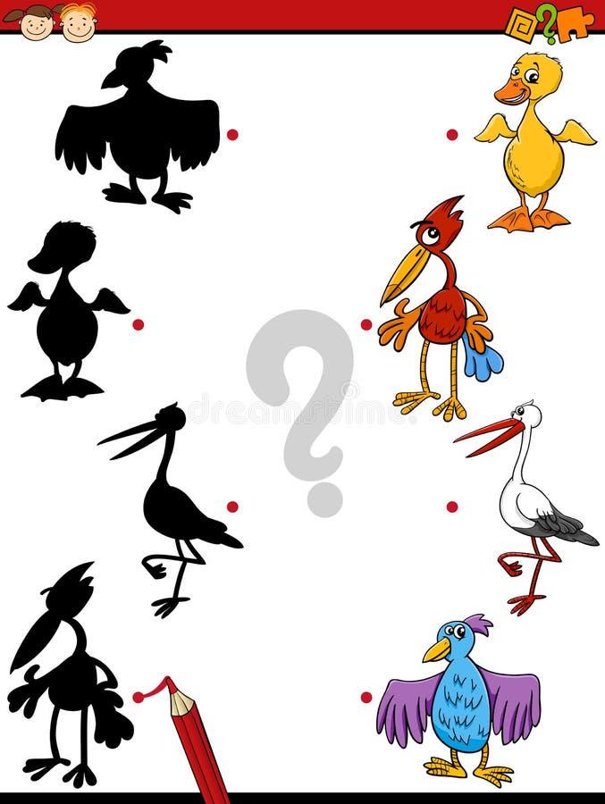 Desenhos animados educacionais da tarefa das sombras ilustração stock