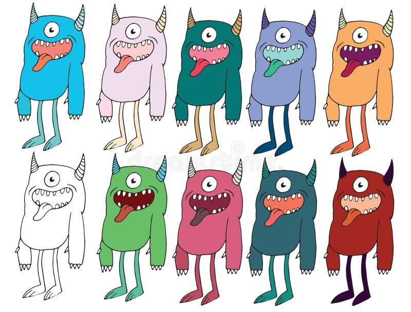 Desenhos animados engra?ados coloridos para escrever a estrangeiros feitos ? m?o do monstro da garatuja da tra??o cyclops diabo ilustração do vetor