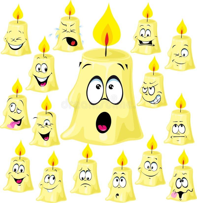 Download Desenhos Animados Engraçados Com Muitas Expressões Faciais - Vetor Da Vela Ilustração do Vetor - Ilustração de sorriso, piscamento: 80100608