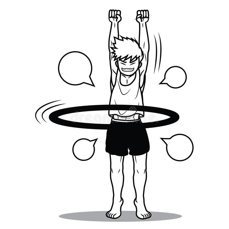 Desenhos animados engraçados da aro do hoola do jogo do menino imagem de stock royalty free