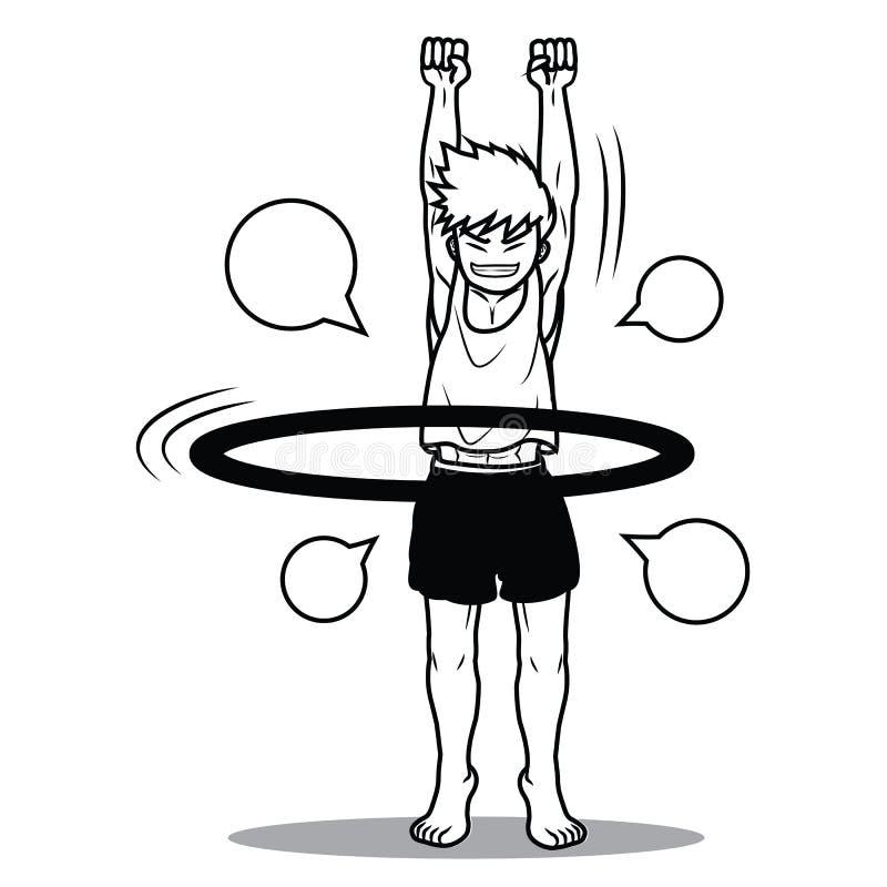 Desenhos animados engraçados da aro do hoola do jogo do menino foto de stock royalty free