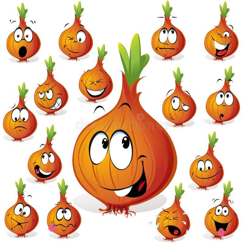 Desenhos animados engraçados da cebola ilustração stock