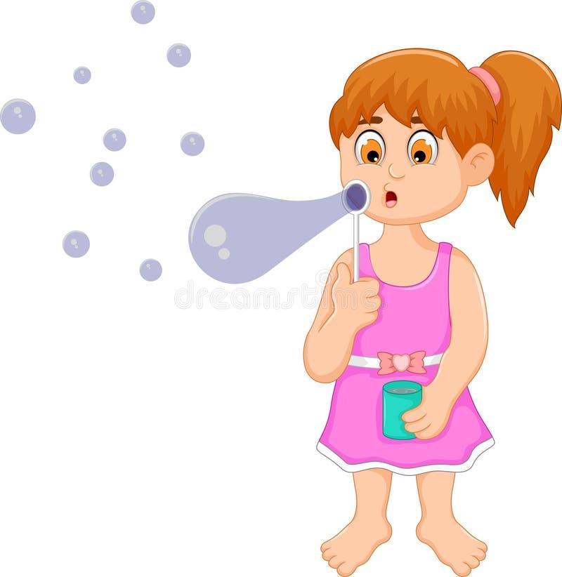 Desenhos animados engraçados da menina que jogam a bolha ilustração do vetor