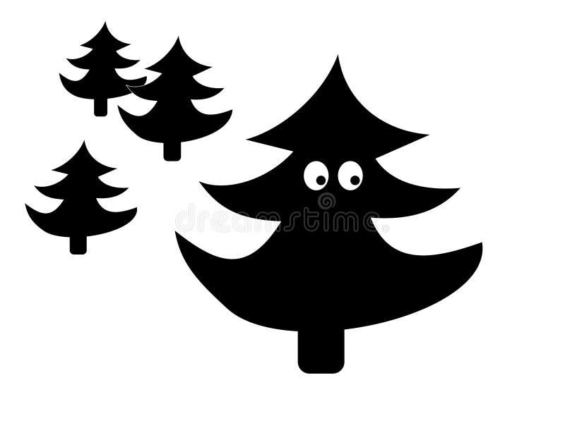 Desenhos animados engraçados da silhueta da árvore de abeto ilustração stock