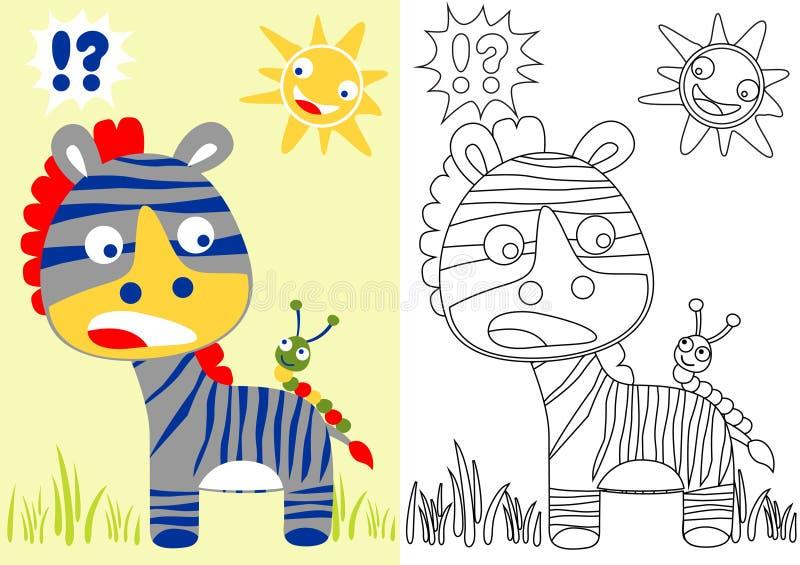 Desenhos animados engraçados da zebra com a lagarta pequena no verão ilustração do vetor