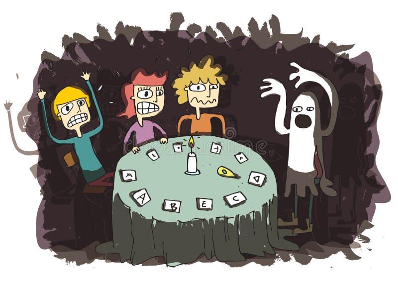 Desenhos animados engraçados de Ghost com os adolescentes que comunicam-se ao outro mundo ilustração royalty free