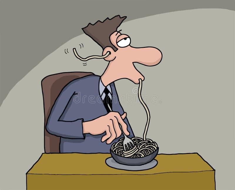 Desenhos animados engraçados de um espaguete antropófago ilustração royalty free