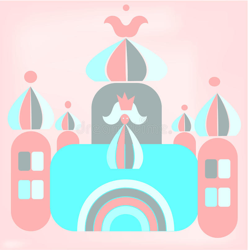 Desenhos animados engraçados do castelo romântico com princesa ilustração stock