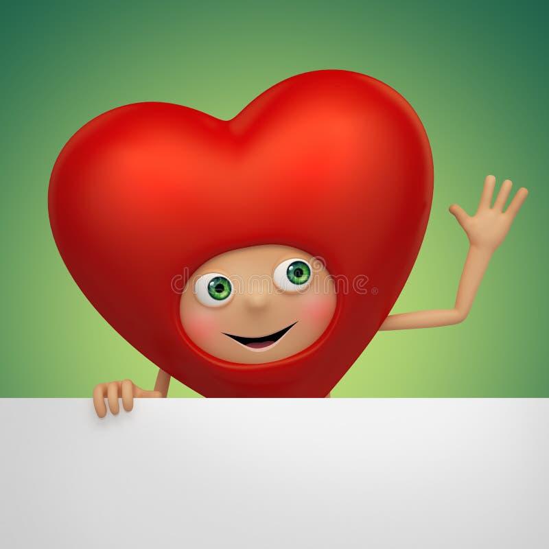 Desenhos animados engraçados do coração do Valentim que guardaram a bandeira ilustração do vetor