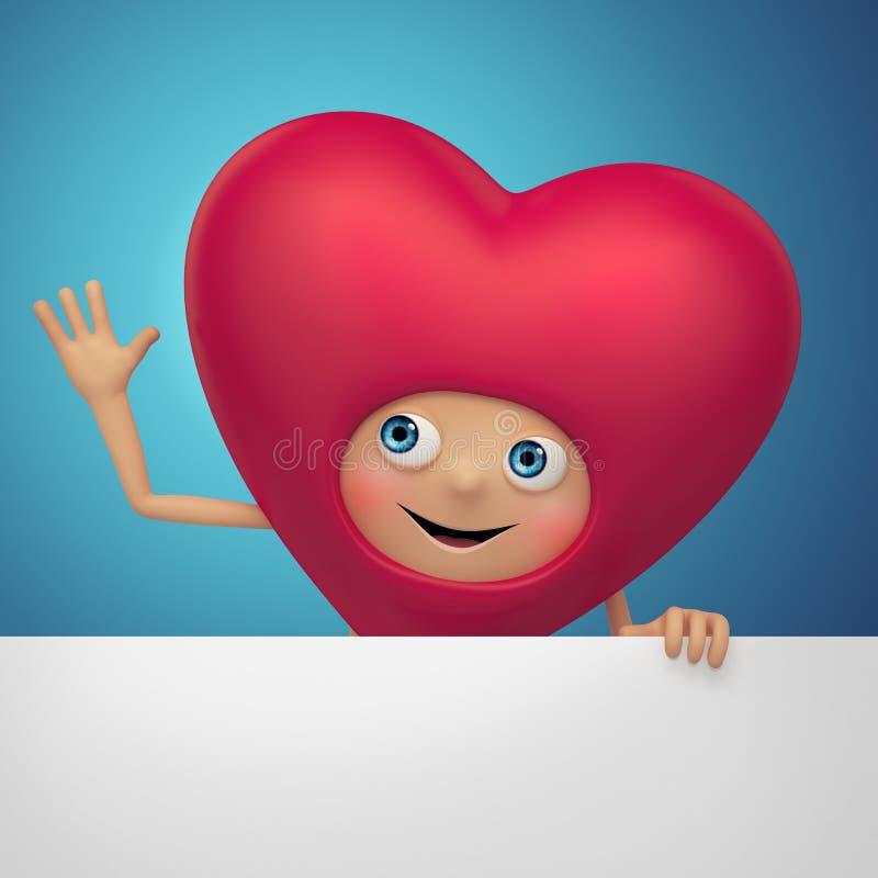 Desenhos animados engraçados do coração do Valentim que guardaram a bandeira vazia ilustração do vetor