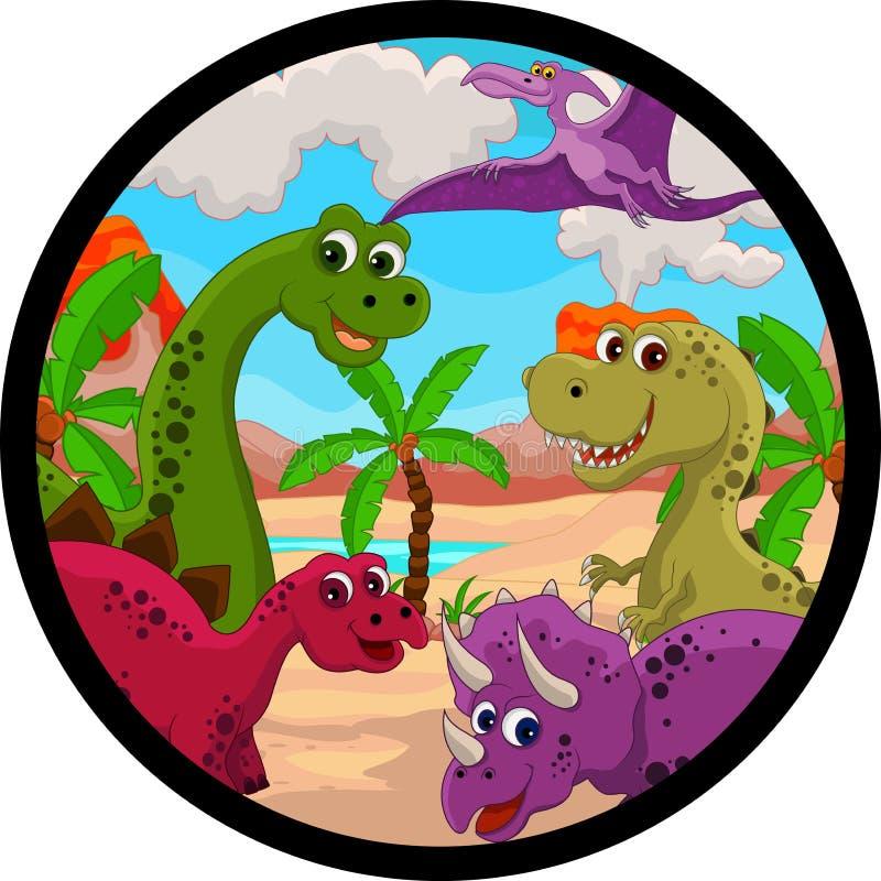Desenhos animados engraçados do dinossauro ilustração stock