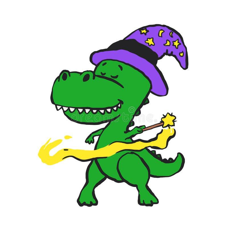 Desenhos animados engraçados do dinossauro do feiticeiro ilustração stock