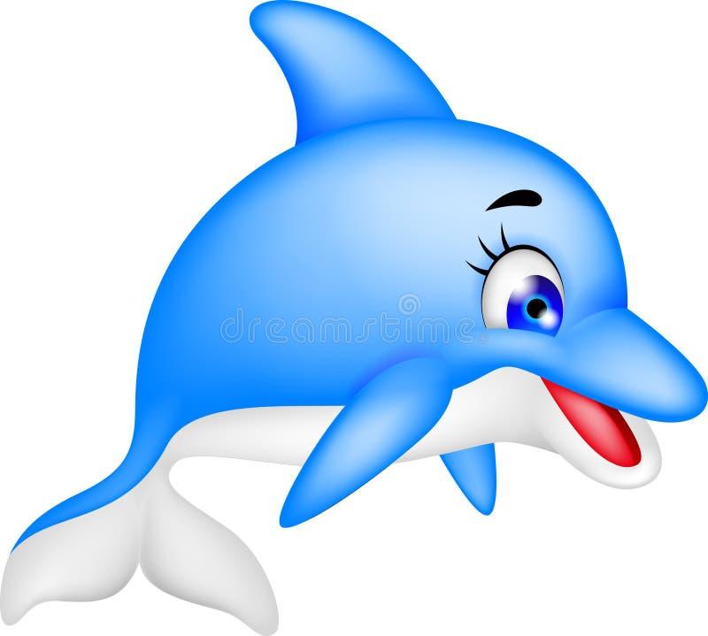 Desenhos animados engraçados do golfinho ilustração royalty free