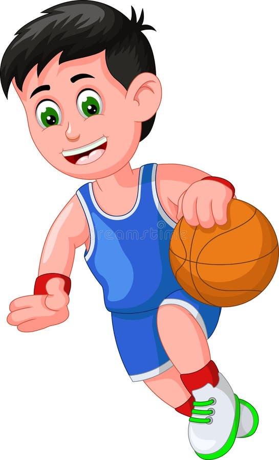 Desenhos animados engraçados do jogador de basquetebol ilustração royalty free