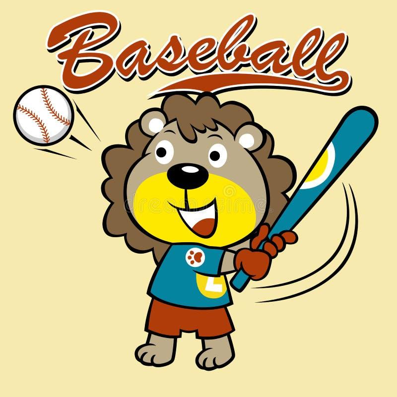 Desenhos animados engraçados do jogador de beisebol pequeno ilustração stock