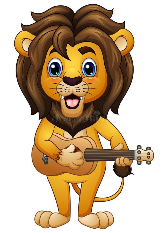 Desenhos animados engraçados do leão que jogam a guitarra ilustração stock