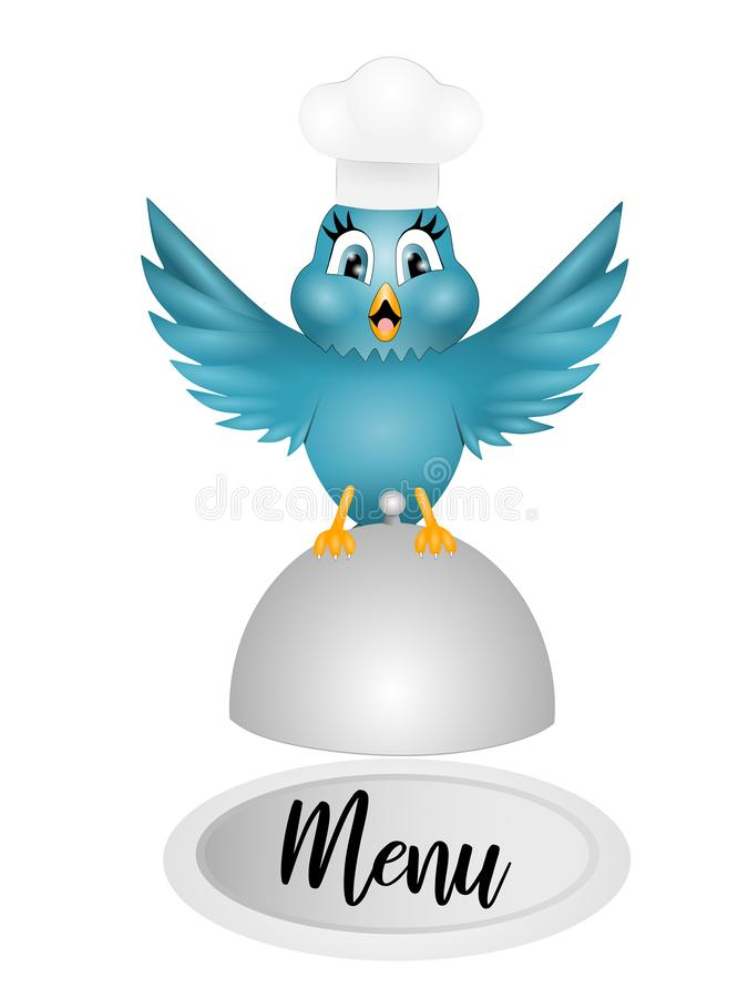 Desenhos animados engraçados do pássaro do cozinheiro chefe ilustração do vetor
