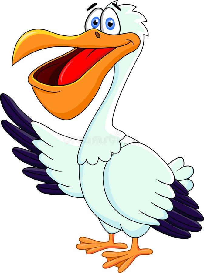 Desenhos animados engraçados do pelicano ilustração royalty free