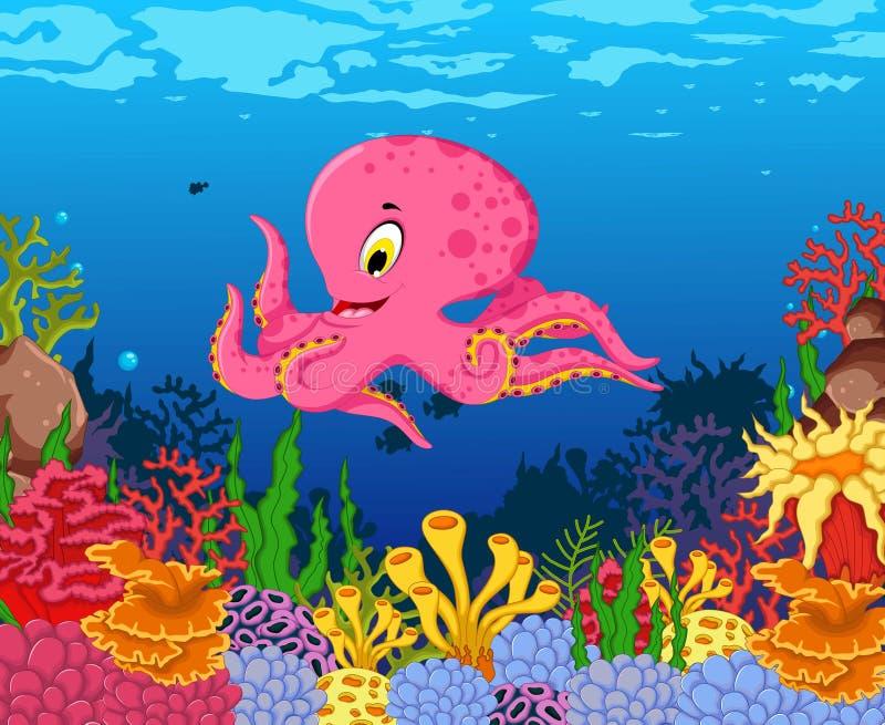 Desenhos animados engraçados do polvo com fundo da vida marinha da beleza ilustração do vetor