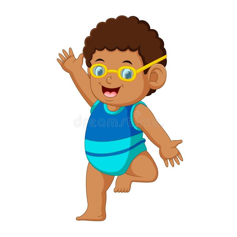 Desenhos animados engraçados do rapaz pequeno ilustração do vetor