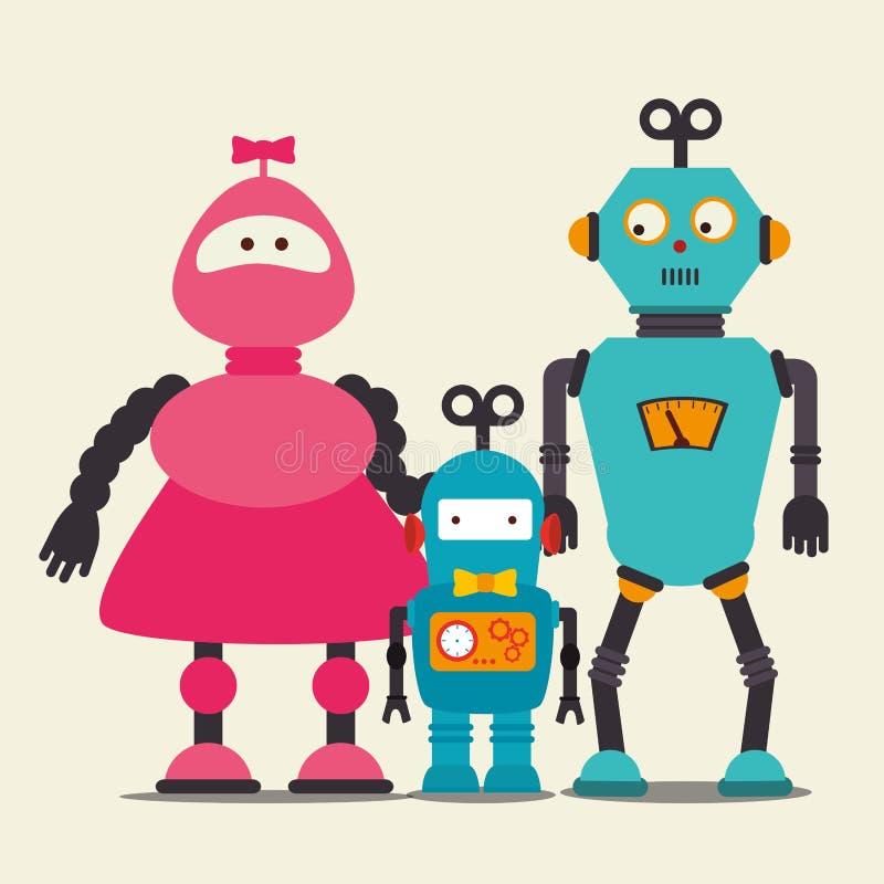 Desenhos animados engraçados do robô ilustração do vetor
