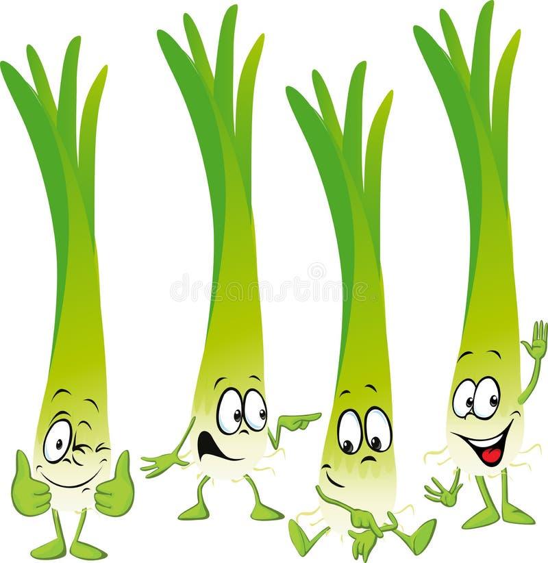 Desenhos animados engraçados do vetor do alho-porro ou da cebola verde ilustração royalty free