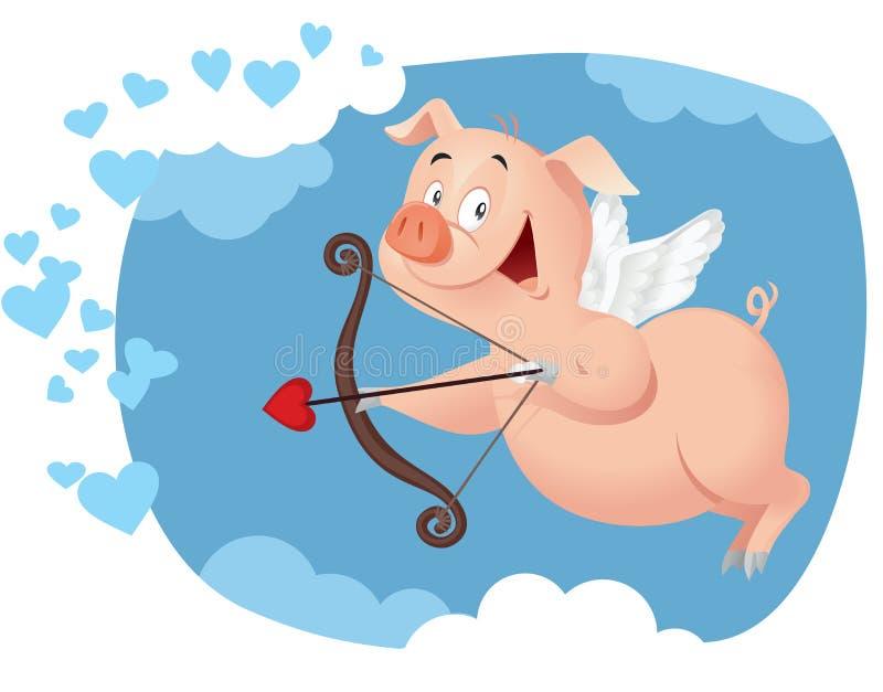 Desenhos animados engraçados do vetor do porco do cupido ilustração do vetor
