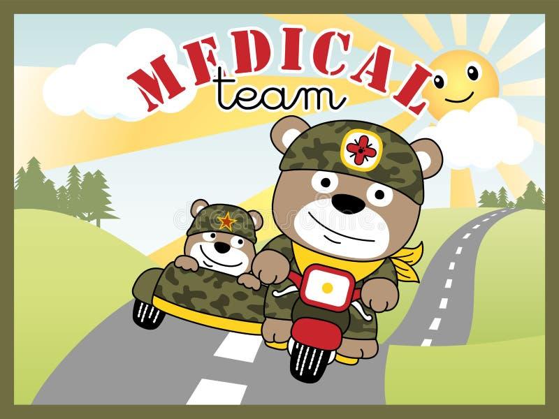 Desenhos animados engraçados dos soldados ilustração stock