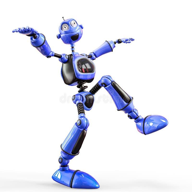 Desenhos animados engraçados e lustrosos do robô ilustração stock