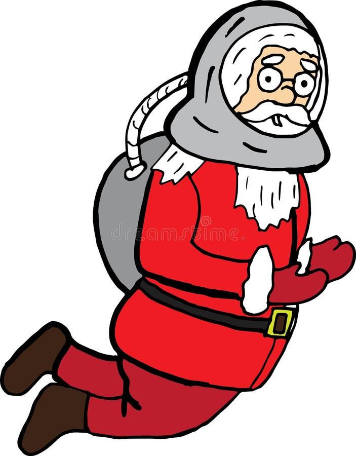 Desenhos animados engraçados Papai Noel no terno de espaço caráter do Natal do vetor para cópias e cartazes imagens de stock royalty free